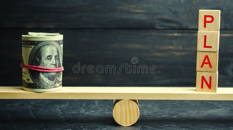 Dolary i słowo plan są na skalach Pieniężny i budżet planowanie Pieniężne inwestycje i bramkowy kładzenie plan w akcję fotografia stock