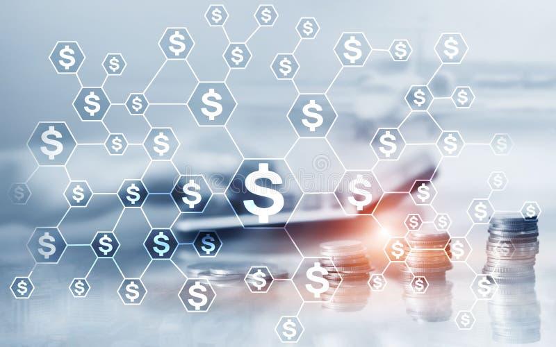 Dolary ikon na abstrakcjonistycznym biznesowym tle 3 d pojęcia pojedynczy utylizacji inwestycji Ukuwa nazwę samolotowego kalkulat ilustracji
