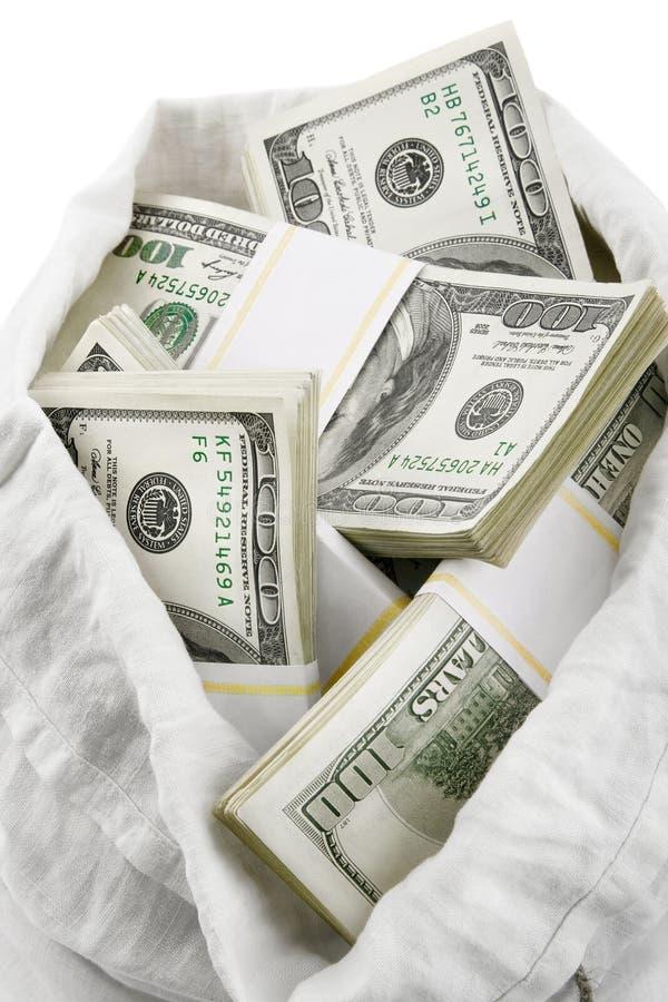 dolary pełnego pieniądze otwartego worka zdjęcia stock