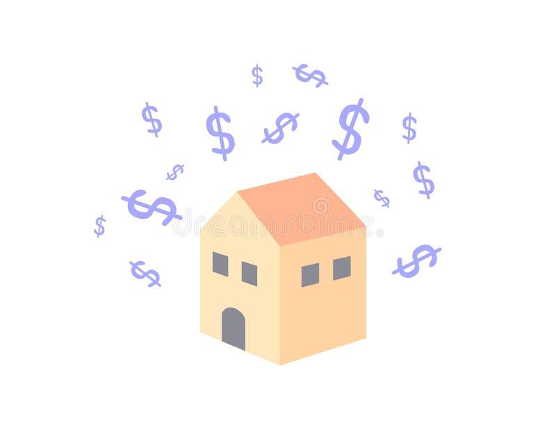 Dolary symbolu unosi się nad dom Dolary symbolu z domem odizolowywającym na białym tle royalty ilustracja