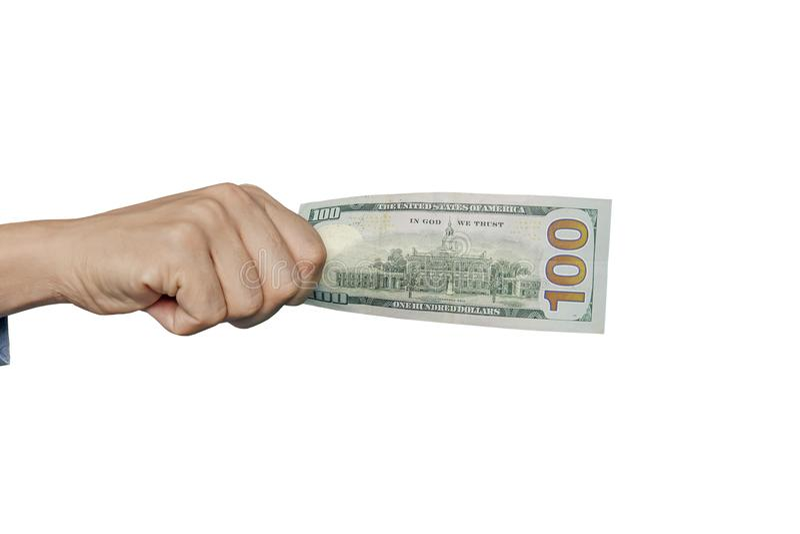 Dolary w mężczyzna ręce na białym tle fotografia royalty free