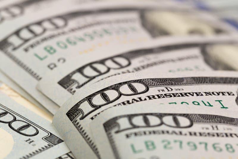 Dolary zbliżenia pojęcia Amerykańscy dolary Gotówkowego pieniądze dolar banknotów sto - Wizerunek obrazy royalty free
