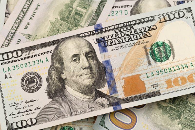 Dolary zbliżenie Benjamin Franklin portret na rachunku Pojęcie pieniądze i przychody fotografia royalty free