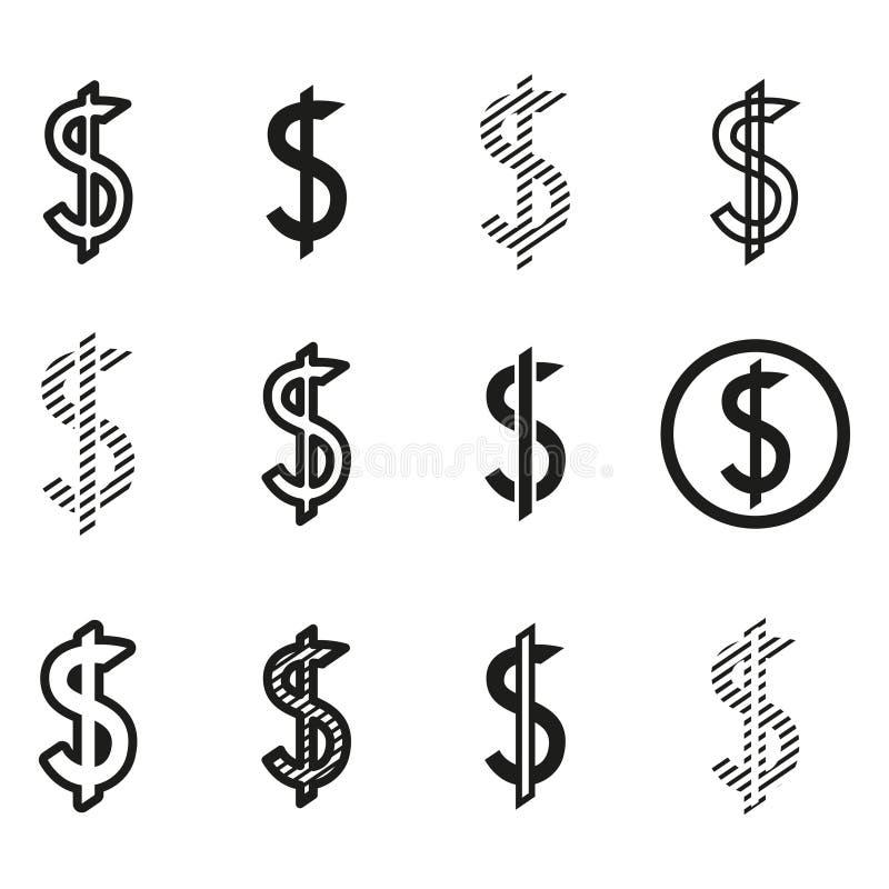 Dolary znak ikony setu, dolarowy loga szablon ilustracji