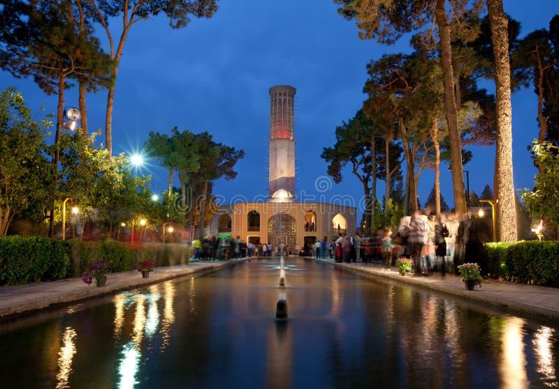 Dolatabad庭院和亭子在Yazd 免版税库存图片