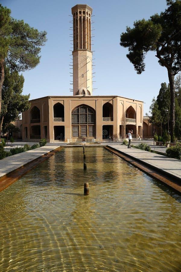 Dolatabad trädgård och paviljong i Yazd arkivfoton