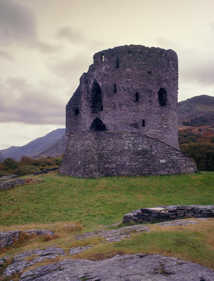 Dolbadarn castle, Llanberis, North Wales. This ancient, ruined fortification, was built in 1230 by Llywelyn the great. It overlooks Llyn(lake) Padarn, next to royalty free stock photography