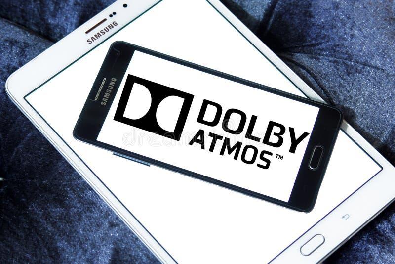 Dolbyatmos correct technologieembleem royalty-vrije stock afbeelding