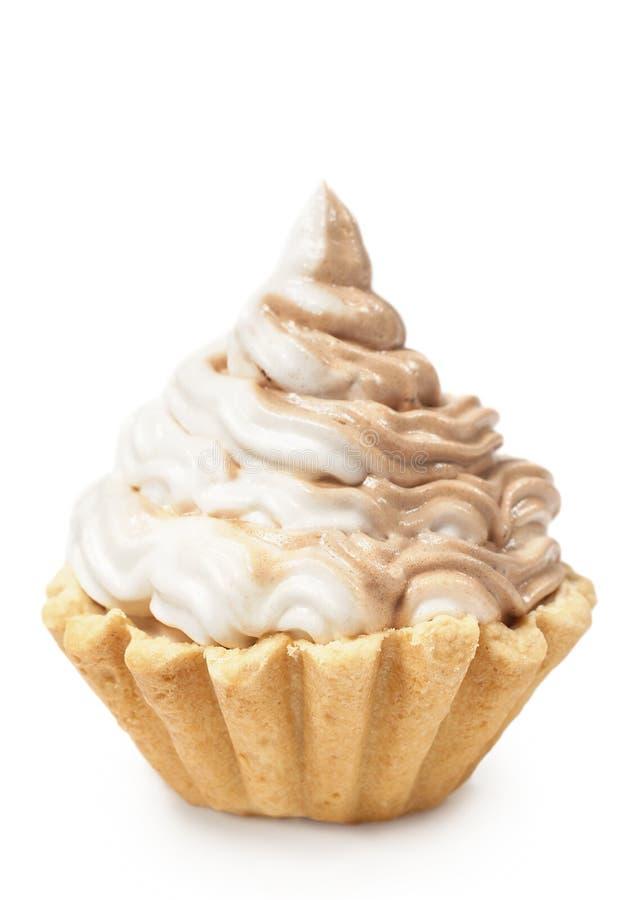 Dolce con la crema del cioccolato e della vaniglia immagini stock