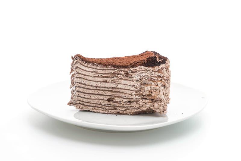 Dolce del crêpe del cioccolato immagini stock