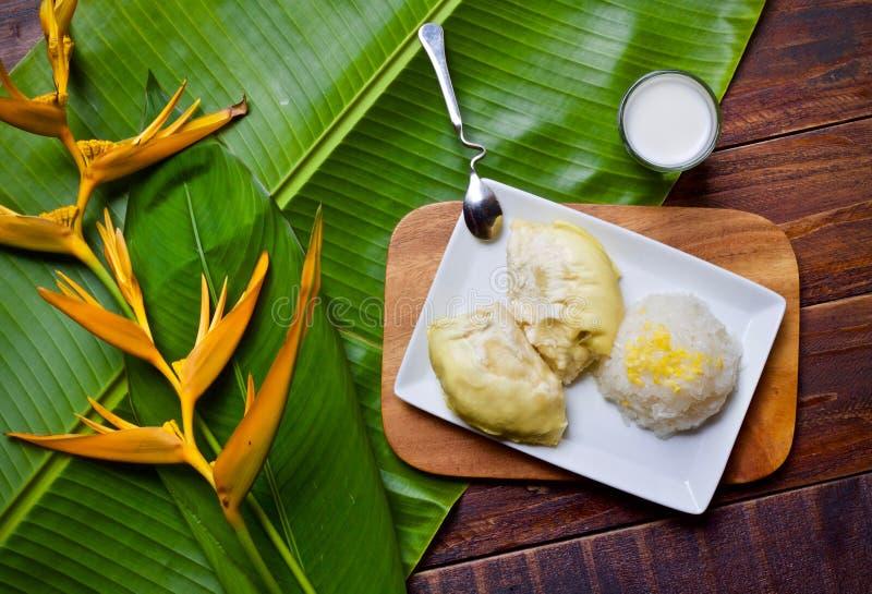 Dolce del dessert del riso del Durian fotografie stock
