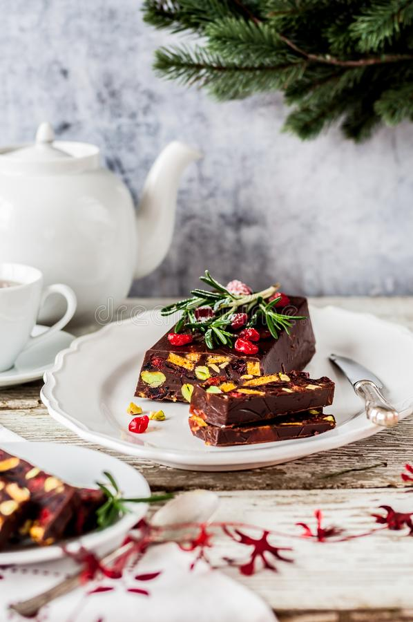 Dolce del mosaico del cioccolato di Natale immagini stock