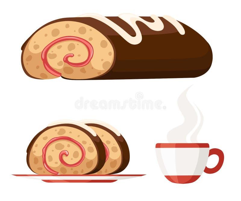 Dolce del rotolo dolce sul piatto bianco Swiss roll del cioccolato Dolce dolce con la tazza di t?, illustrazione piana isolata su illustrazione di stock