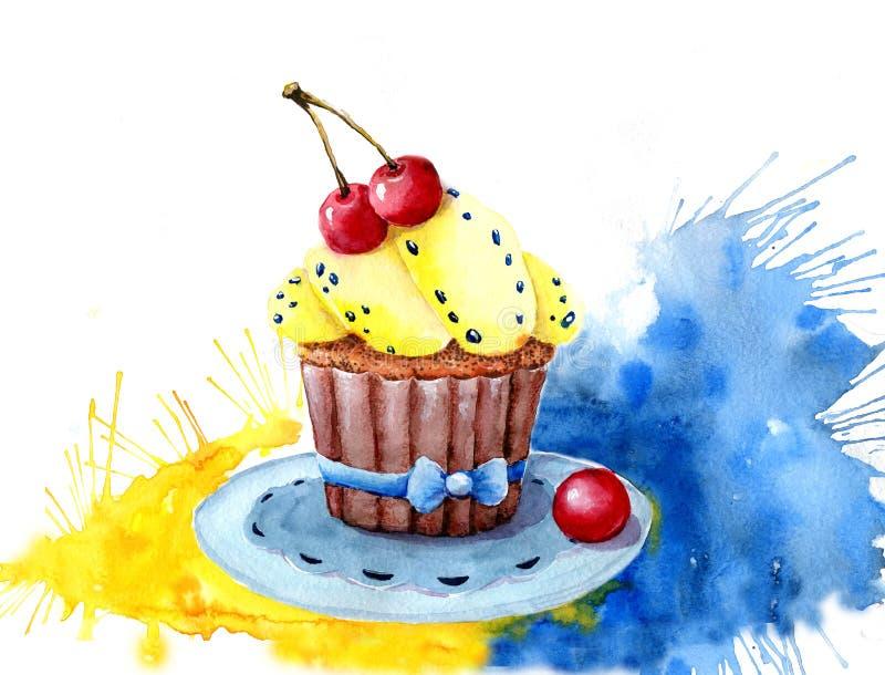 Dolce dell'acquerello riempito di crema e di ciliege Isolato Di facile impiego per varia progettazione del menu, pubblicità, caff illustrazione vettoriale
