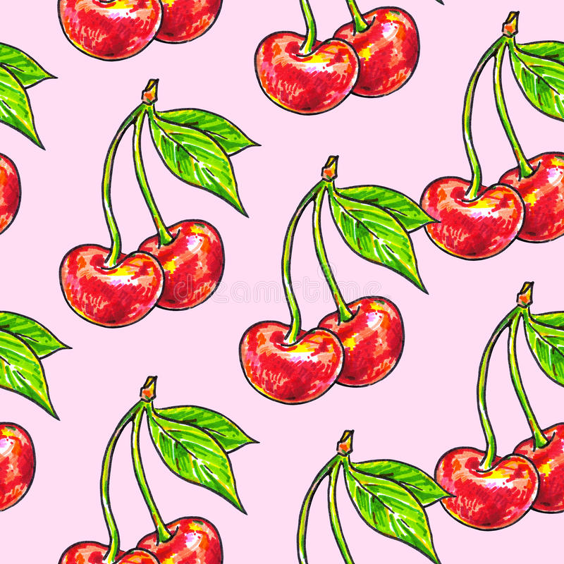 Dolce della ciliegia su un fondo rosa Reticolo senza giunte per il disegno Illustrazioni di animazione Lavoro manuale illustrazione di stock