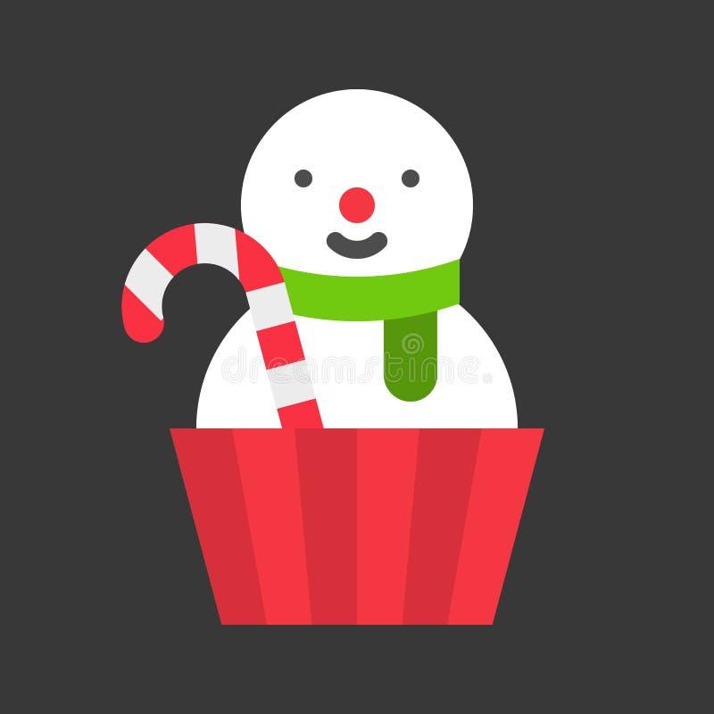 Dolce della tazza del pupazzo di neve, alimento di natale Icona piana di progettazione royalty illustrazione gratis