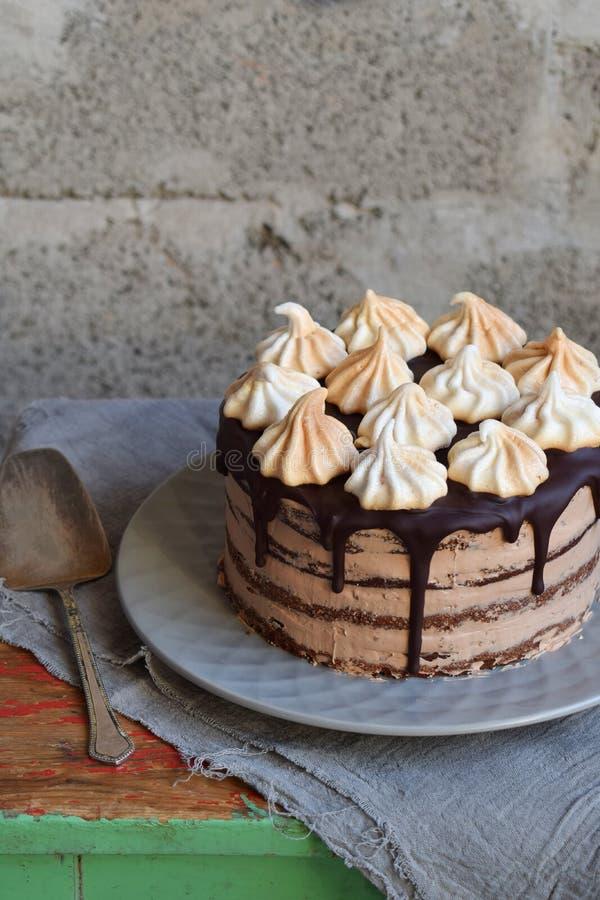 Dolce di cioccolato decorato con le rosette della crema della meringa: biscotto del cioccolato-dado, crema del caramello Cottura  immagine stock
