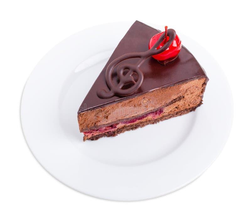 Dolce di cioccolato delizioso con la ciliegia del cocktail immagine stock libera da diritti