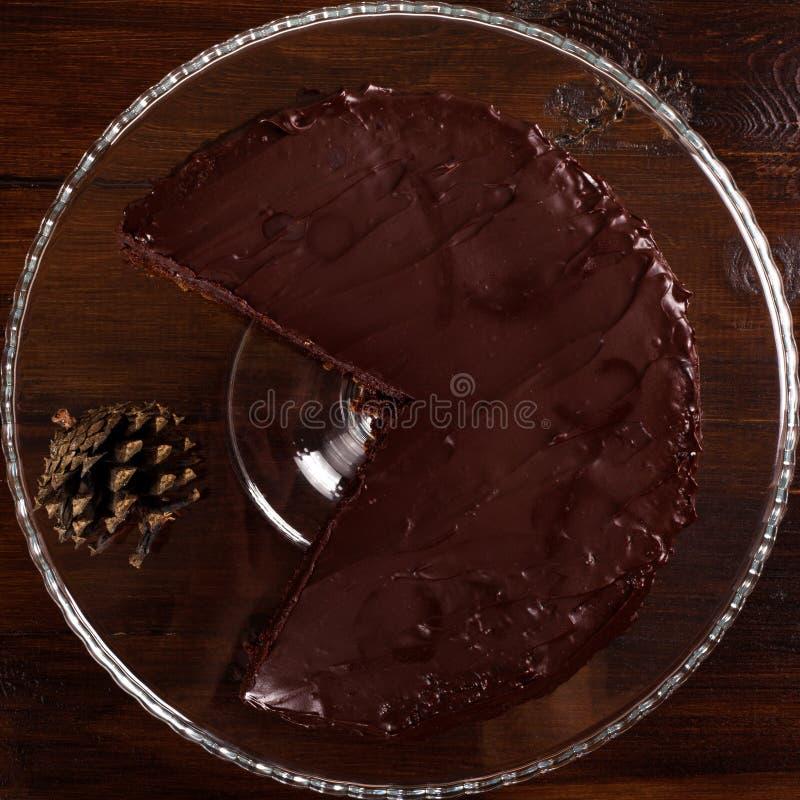 Dolce di cioccolato delizioso di Sacher Vista superiore fotografie stock libere da diritti