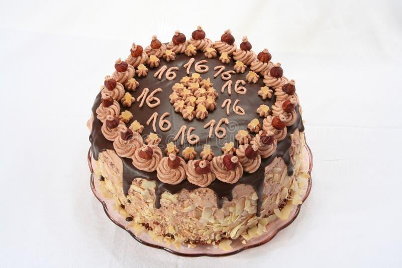 Dolce di cioccolato dell'anniversario fotografia stock libera da diritti