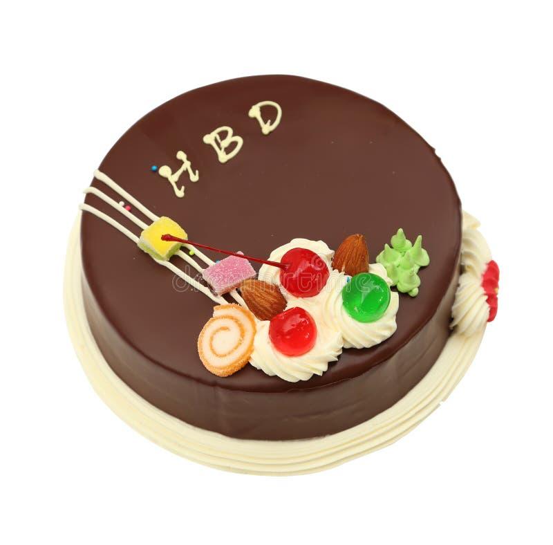 Dolce di cioccolato di buon compleanno su bianco fotografia stock
