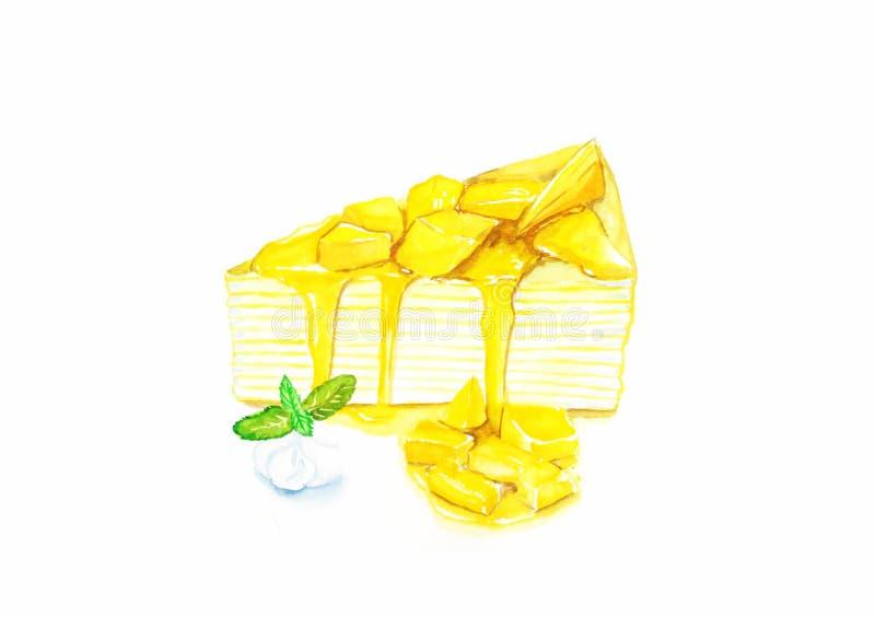 Dolce di crêpe del mango fotografie stock
