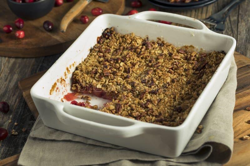 Dolce di frutta e scones casalingo Crumble del mirtillo rosso fotografie stock