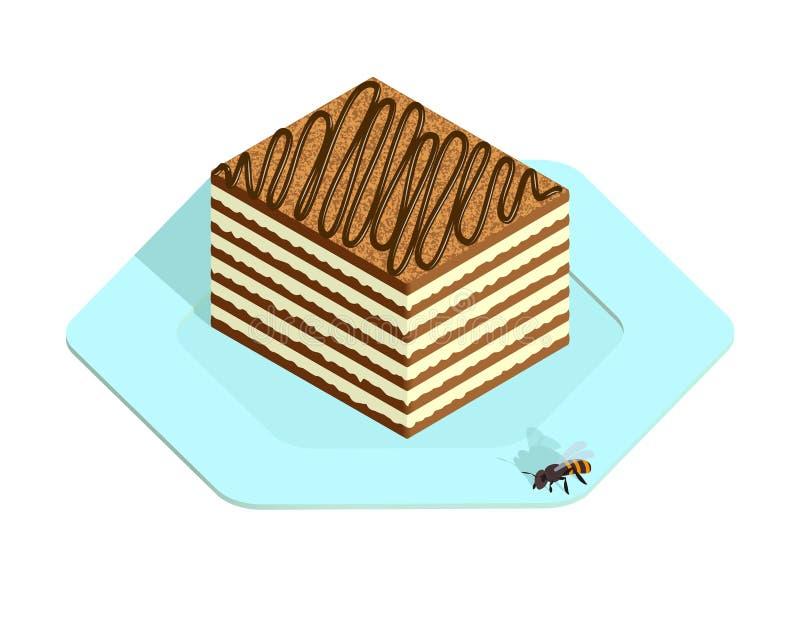 Dolce di miele nello stile isometrico illustrazione di stock