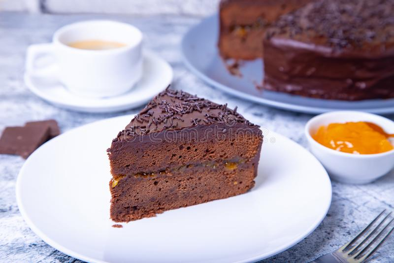 Dolce di Sacher Dessert austriaco tradizionale del cioccolato immagini stock