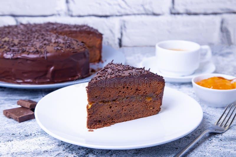 Dolce di Sacher Dessert austriaco tradizionale del cioccolato immagine stock libera da diritti