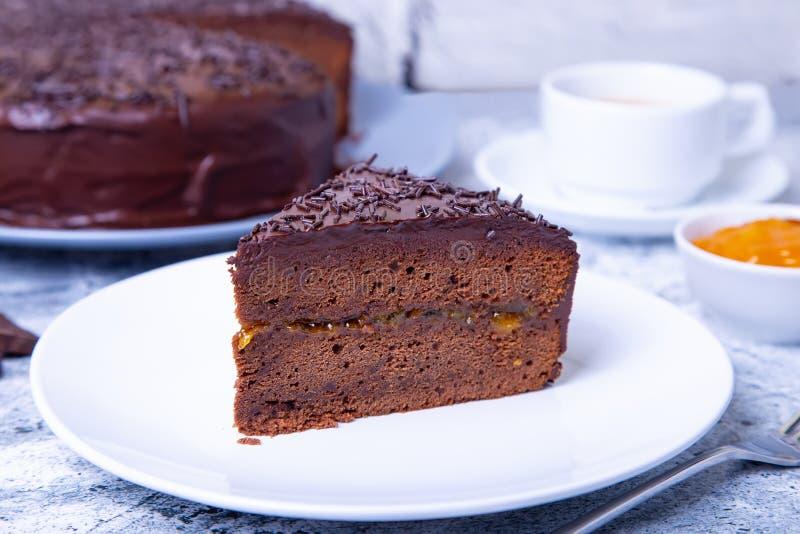 Dolce di Sacher Dessert austriaco tradizionale del cioccolato immagini stock libere da diritti