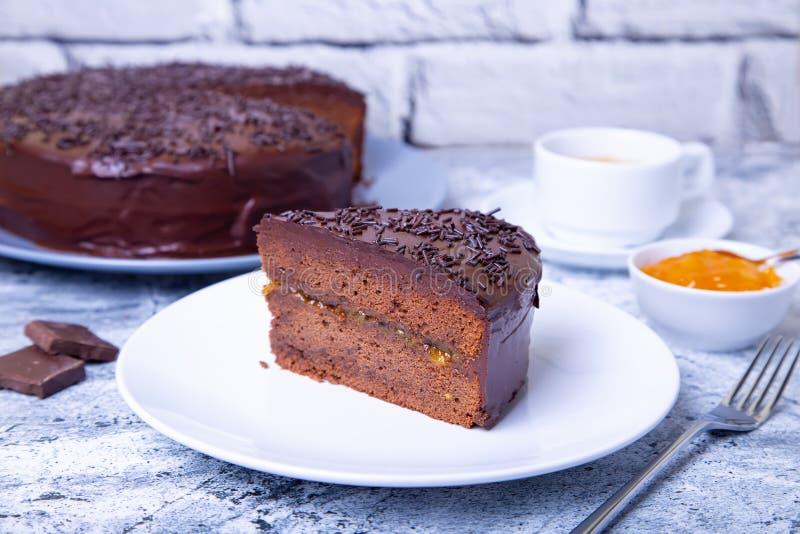 Dolce di Sacher Dessert austriaco tradizionale del cioccolato fotografie stock libere da diritti