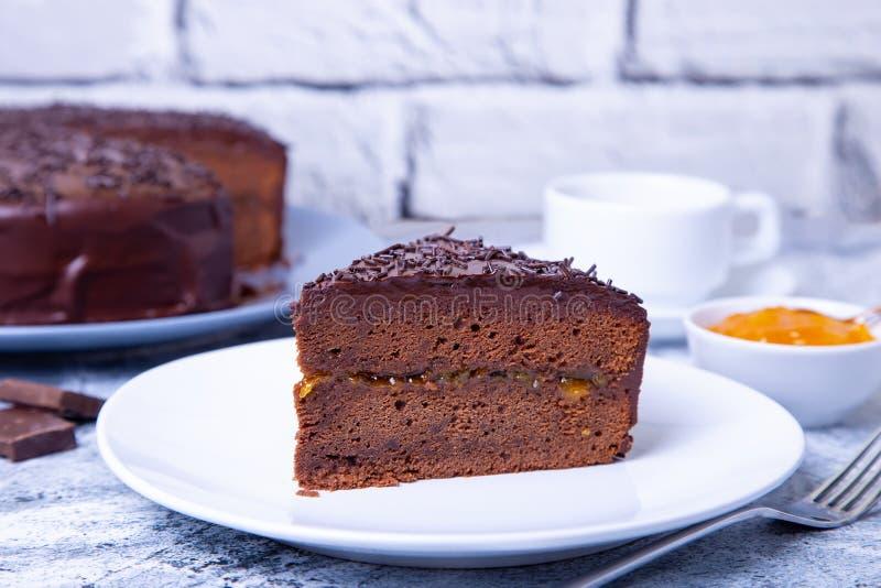 Dolce di Sacher Dessert austriaco tradizionale del cioccolato fotografia stock