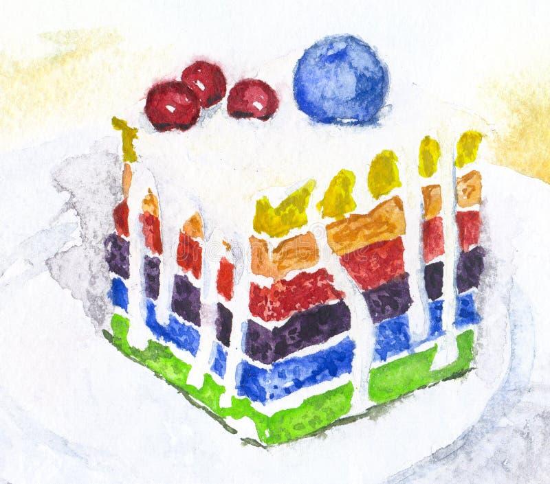 Dolce disegnato a mano, acquerello illustrazione variopinta dell'arcobaleno per progettazione dell'alimento illustrazione di stock