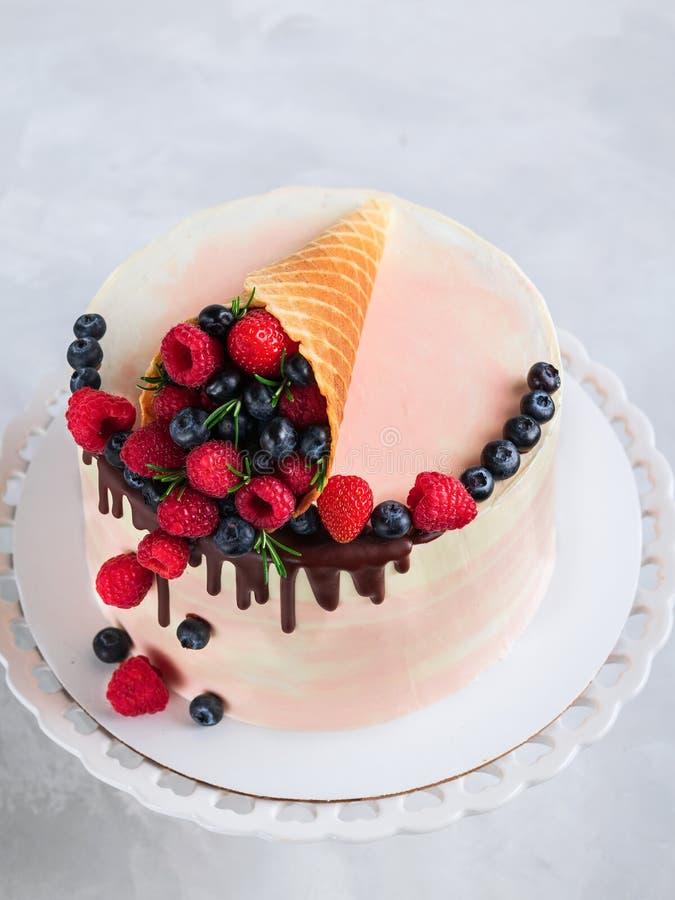 Dolce festivo con cioccolato di fusione e frutti assortiti in un corno della cialda su fondo neutrale fotografia stock