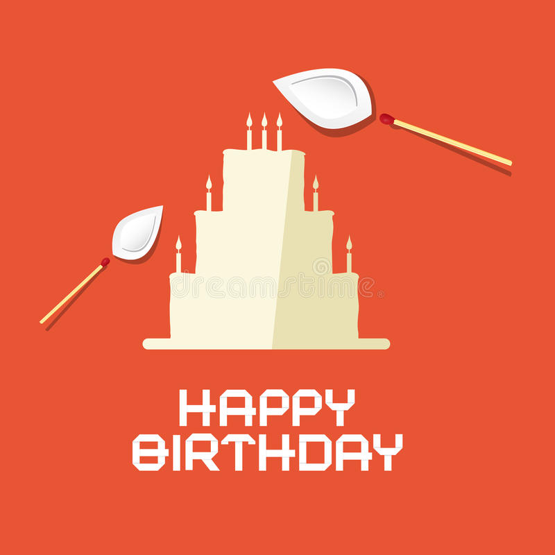 Dolce piano della carta di progettazione di buon compleanno illustrazione vettoriale