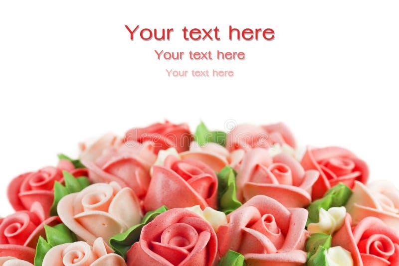 Dolce rosa della crema del fiore di Congrats tradizionale e occatio di benedizione fotografie stock libere da diritti