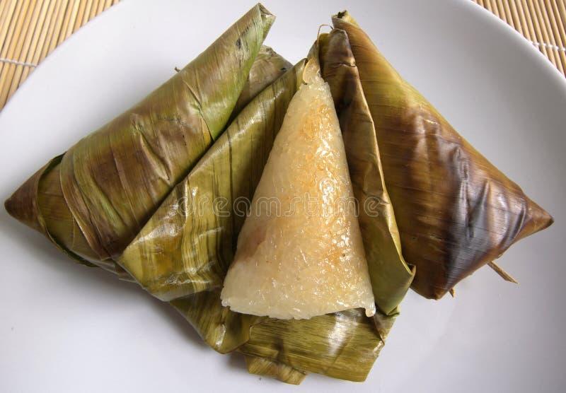 Dolce tailandese, alta vista arrostita del riso appiccicoso immagini stock