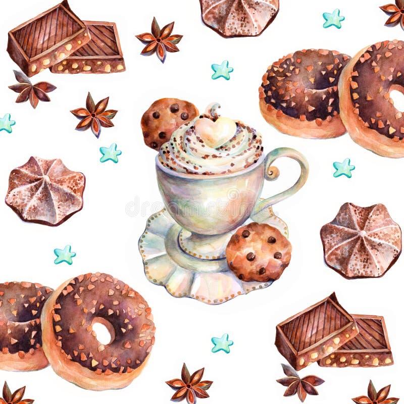 Dolci del cioccolato Verniciatura degli acquerelli illustrazione vettoriale