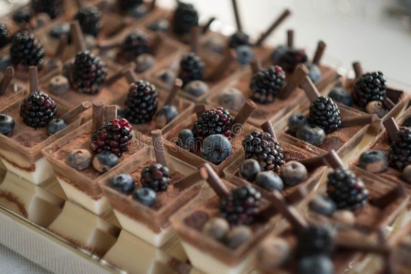 Dolci della pasticceria del cioccolato diversi con le bacche alla barra del buffet della caramella di nozze immagine stock