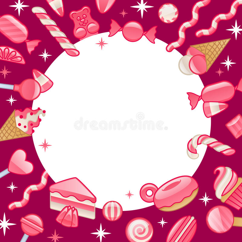 Dolci differenti Fondo rotondo della struttura delle caramelle assortite illustrazione di stock