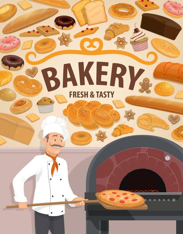 Dolci e panettiere del negozio del forno con pizza illustrazione di stock