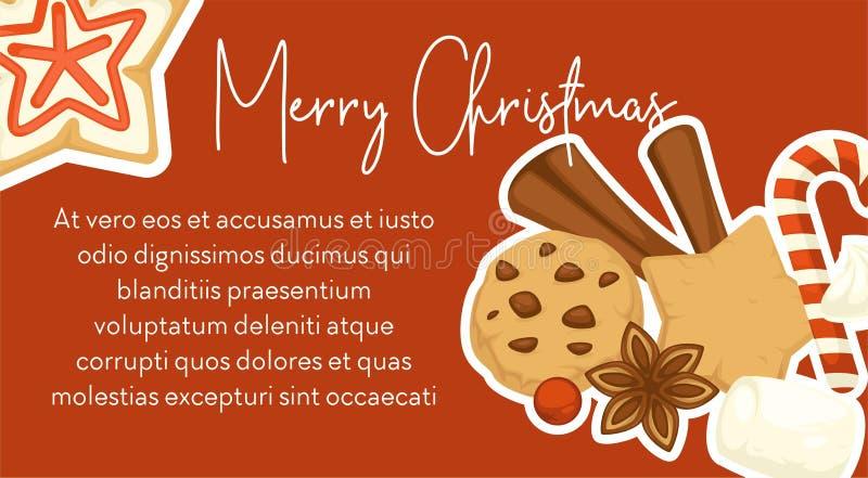 Dolci e spuntini simbolici tradizionali dell'alimento di Buon Natale royalty illustrazione gratis