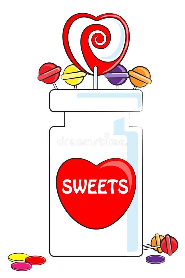 Dolci e vaso di amore illustrazione di stock