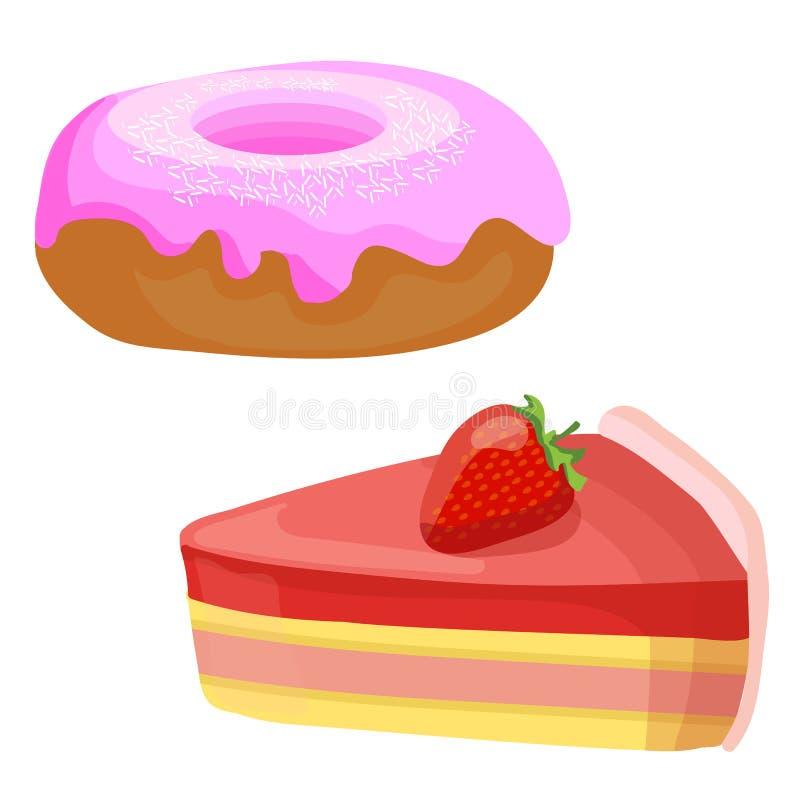 2 dolci Illustrazioni di vettore Fetta e ciambella del dolce della fragola royalty illustrazione gratis