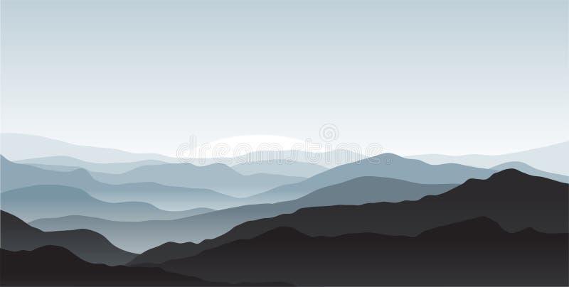 dolda berg för mist stock illustrationer
