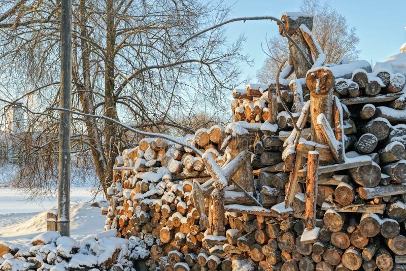 Dolda vedträstatyetter för snö royaltyfria foton