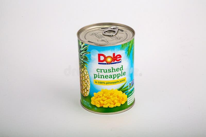 Dole a écrasé l'ananas photo libre de droits