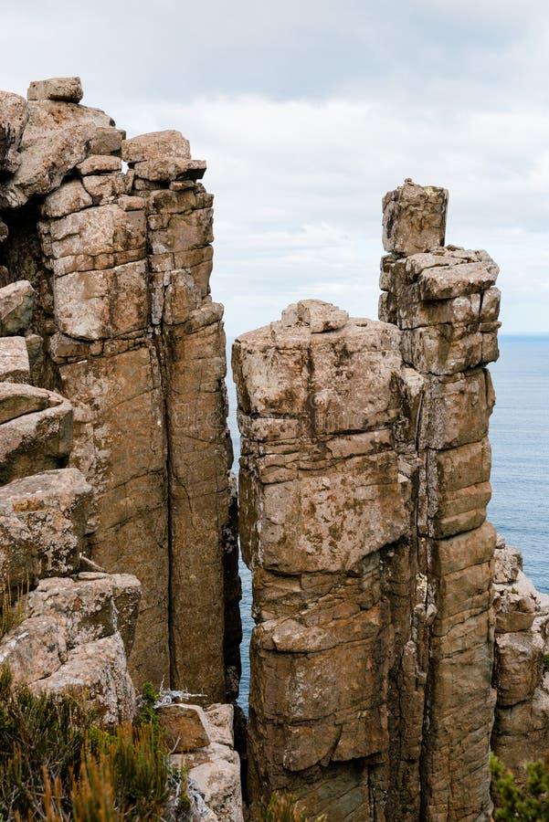 Doleritekolonner, uddepelare, Tasmanien, Australien arkivbild