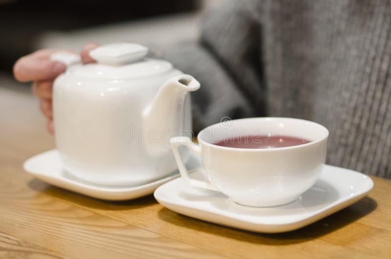 Dolewanie czerwona herbata w filiżankę obrazy stock